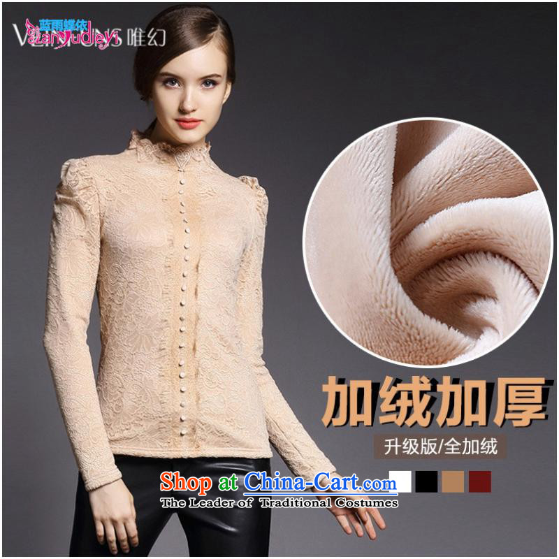 The Secretary for women involved in-store. European site stylish autumn and winter lace long-sleeved shirt with lint-free thick forming the women WN2241 Black?XL