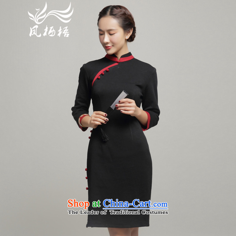 Bong-migratory new autumn 7475 Sau San cotton qipao daily long-sleeved retro qipao Sau San dresses DQ15219 black?S
