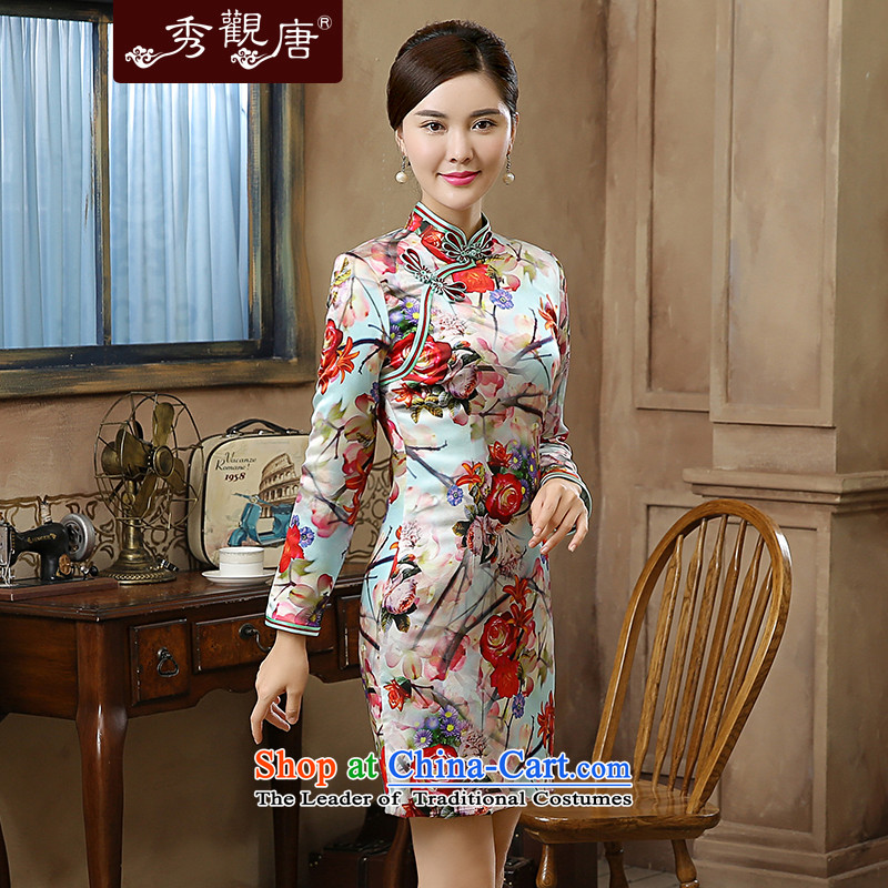 -Sau Kwun Tong- Che Ying 2015 Fall_Winter Collections of new long-sleeved silk cotton retro qipao stamp folder QC5906 skirt suits聽XL