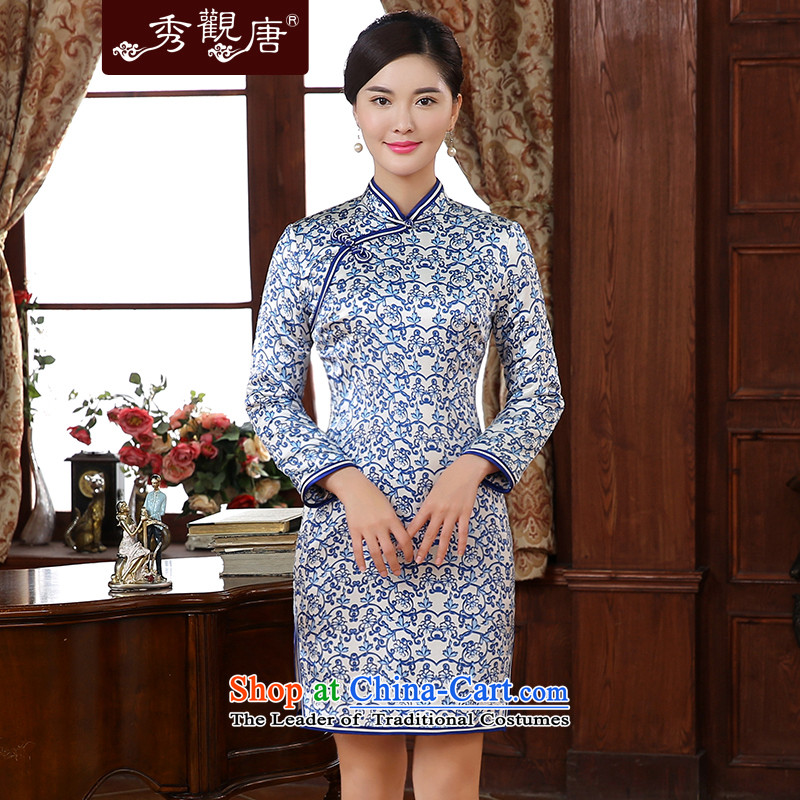 -Sau Kwun Tong- Cheong Wa Image 2015 Fall_Winter Collections new stylish porcelain silk cheongsam dress cotton folder long-sleeved blue and white聽3XL QC5907