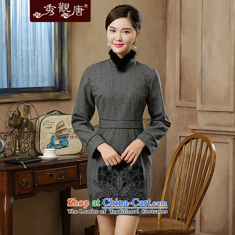 -Sau Kwun Tong- 2015 autumn and winter wind spirit new gross Washable Wool Lace Embroidery long sleeves? cheongsam dress QC5905 GRAY聽M
