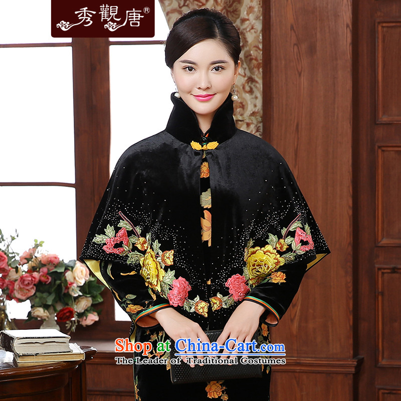[Sau Kwun Tong] Noblesse Oblige spent 2015 Fall/Winter Collections new cheongsam cloak shoulder Embroidery Stamp shawl Kampala P5920 black�XXL