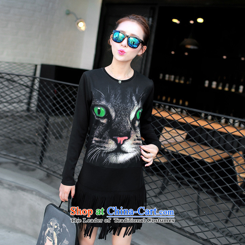 And involved shop New) Autumn *2015 Female European site long round-neck collar long-sleeved T-shirt, forming the edging shirt cats black L