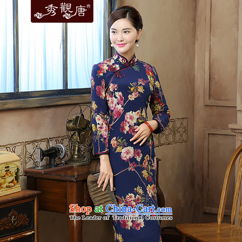 [Sau Kwun Tong] blue autumn and winter 2015 Hyatt new long-sleeved improved retro stamp silk cheongsam dress QC5901 folder cotton jacquard yarn-?XL