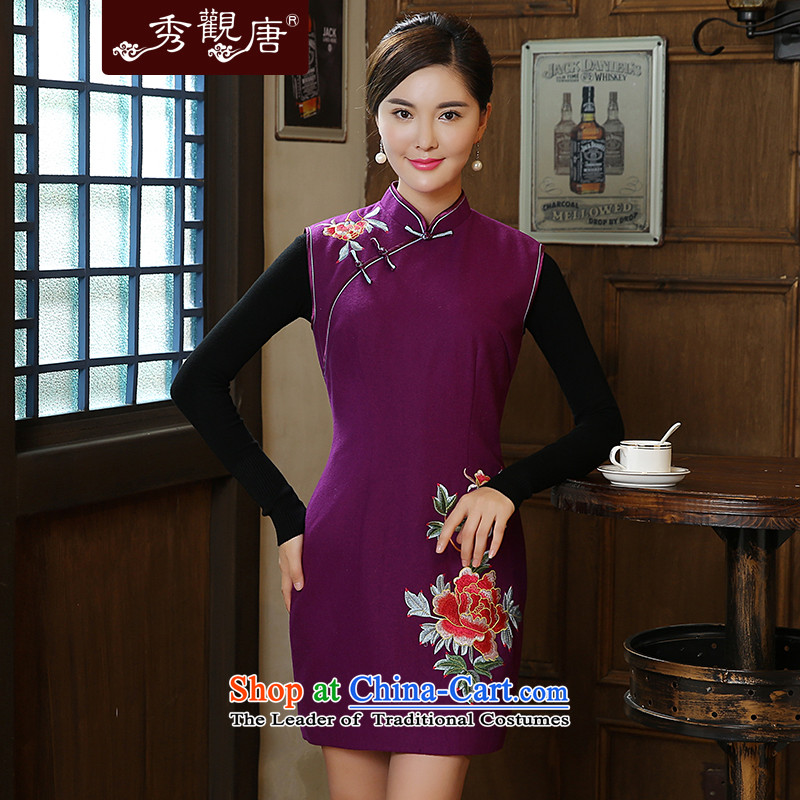 -Sau Kwun Tong- spend the first 2015 Fall_Winter Collections new wool? Fine antique embroidery cheongsam dress QW5913 PURPLE?S