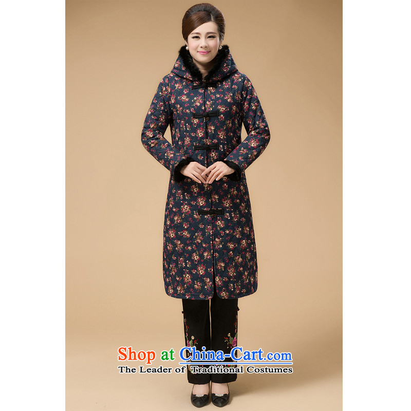 The Cave of the elderly in the autumn and winter of older women Sau San Tong load long thick coat cap clips cotton coat 2072 Blue Chinese燲XL