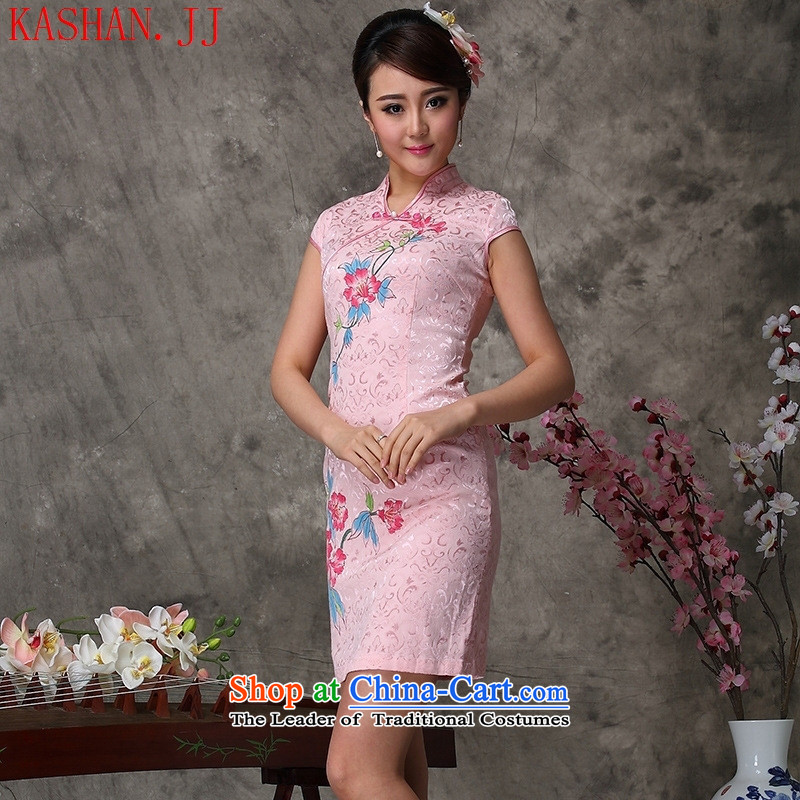 Mano-hwan's 2015 Summer new stylish improved qipao COTTON SHORT, Retro female dresses light pink XL