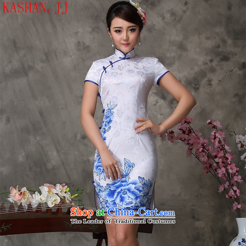 Mano-hwan's qipao summer new Chinese qipao daily retro retro style qipao short, improved White聽XXL