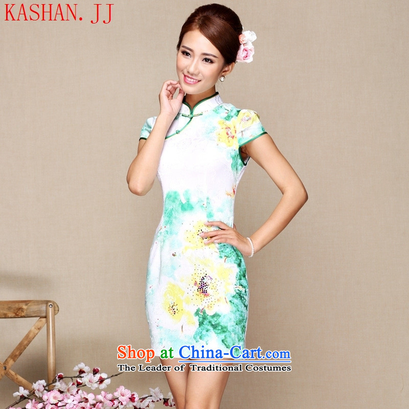 Mano-hwan's qipao summer new retro CHINESE CHEONGSAM short, improved stylish cheongsam dress green聽S