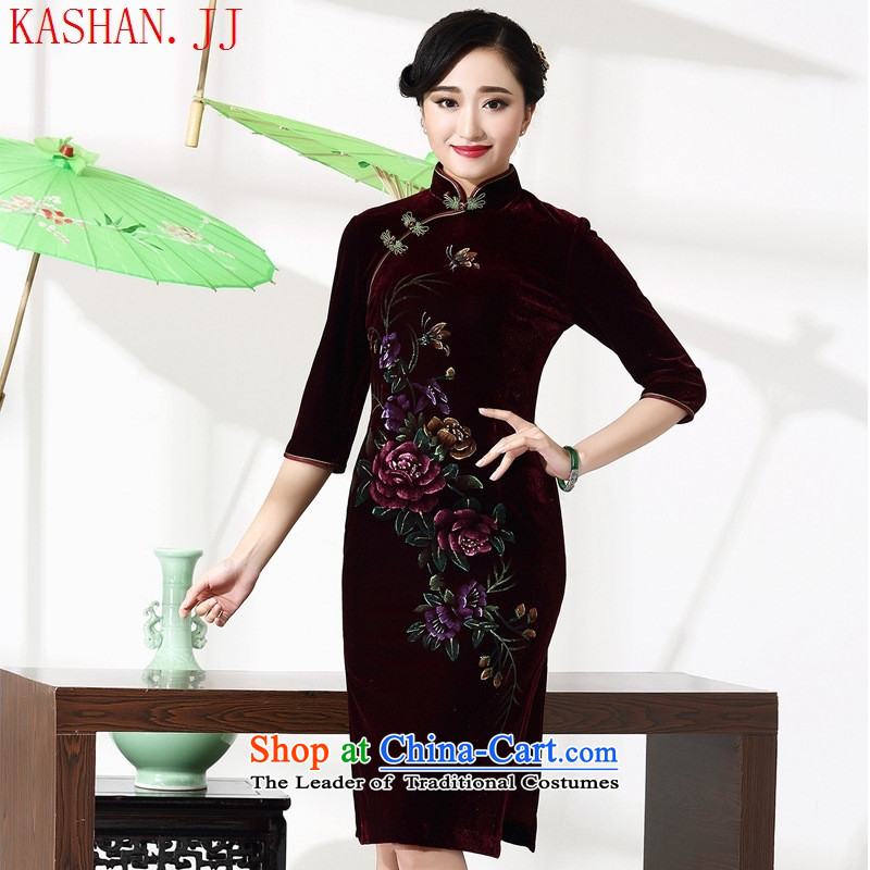 Mano-hwan's 2015 new cheongsam with retro improved price mother Couture fashion autumn and winter 8868 in purple cuff qipao?XXL