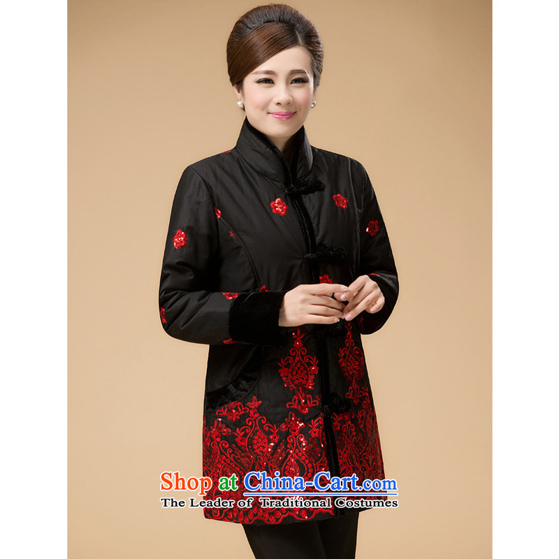 The Cave of the elderly mother in the autumn and winter long Tang dynasty cotton coat national wind in Tang Dynasty older 泾蜮 2078 Black�L