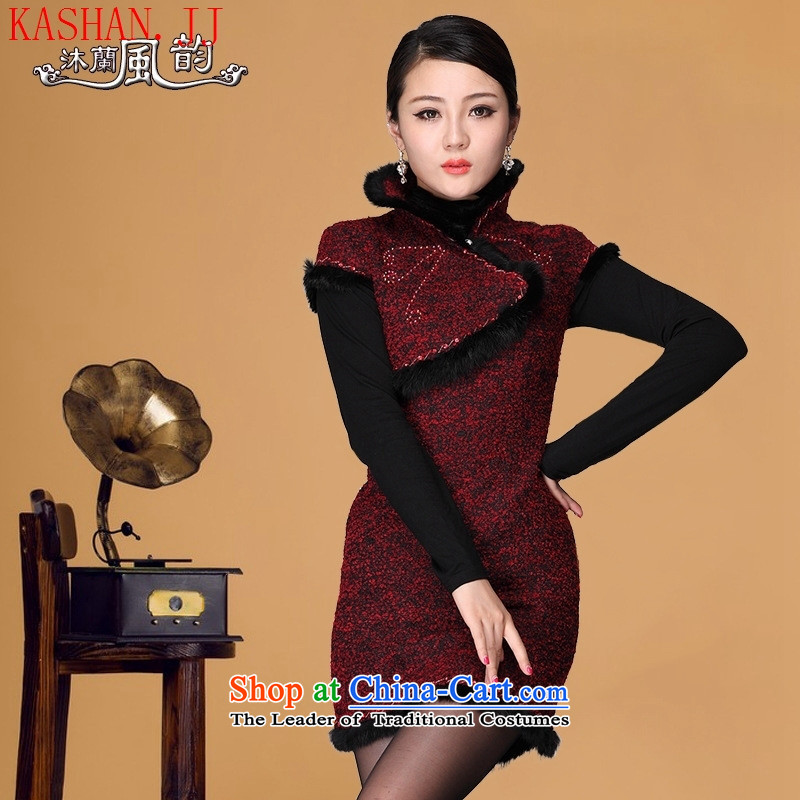 Mano-hwan's 2015 new winter clothing clip cotton qipao embroidered stylish gross for improved cheongsam dress qipao winter qipao wine red?L