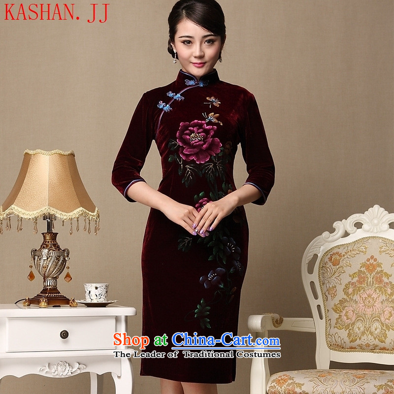 Mano-hwan's 2015 new cheongsam with retro style qipao and improvement of mother Couture fashion autumn and winter purple?XXXL Cheongsam