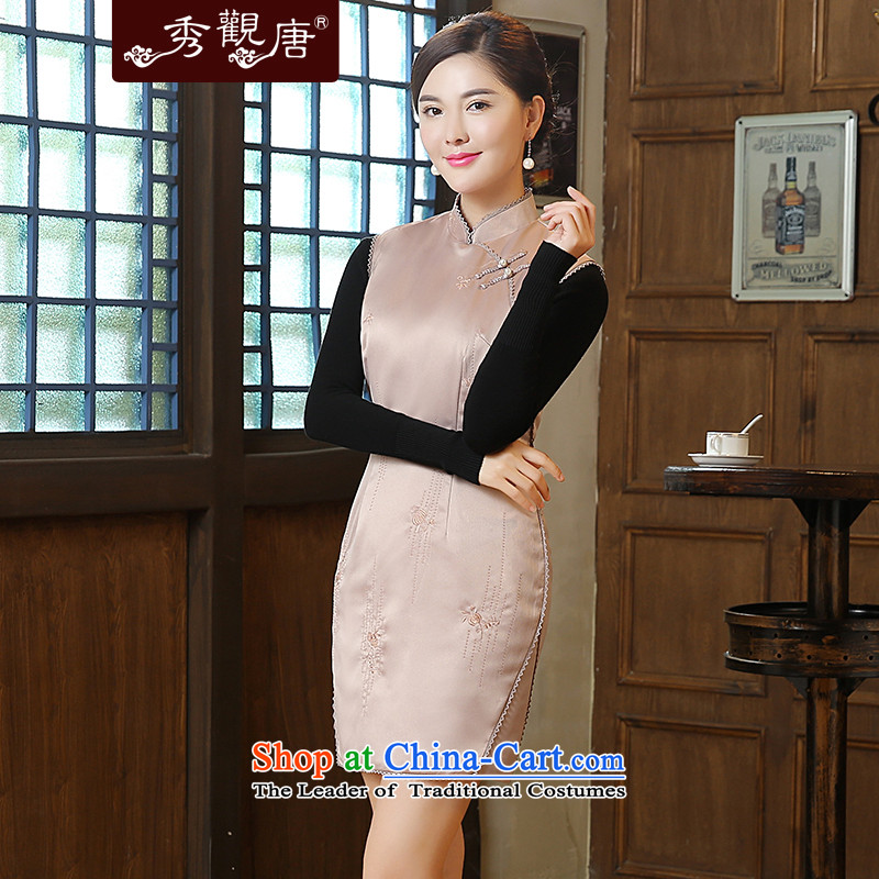 [Sau Kwun Tong] Bik pure 2015 Fall/Winter Collections new embroidery minimalist sleeveless style cheongsam dress QW5915 improved apricot?M