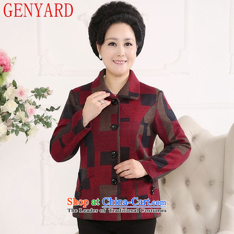 The fall of new, GENYARD2015 in older women's gross light jacket is large with latticed shirts mother blue squares?XXXXL