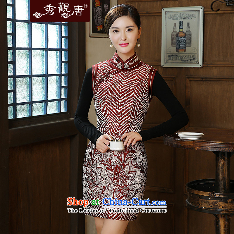 [Sau Kwun Tong] shadow Yat 2015 Fall/Winter Collections new stylish wave points improved cheongsam dress stylish stamp QW5914 Suit�M
