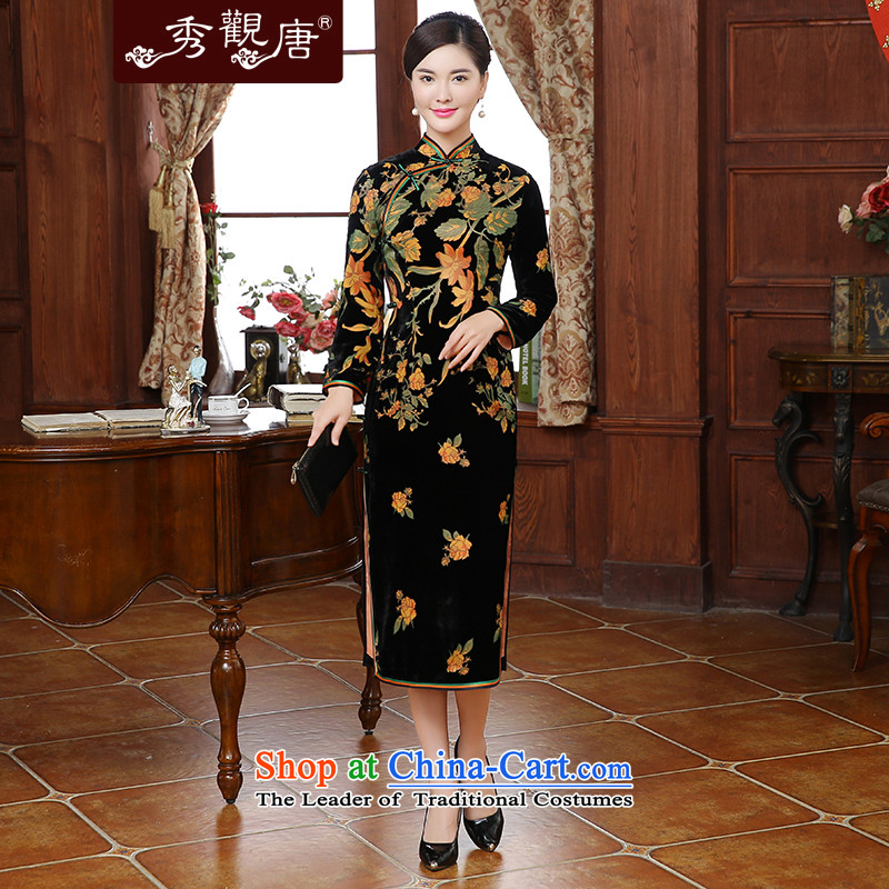 [Sau Kwun Tong] flowers fall 2015 a new Yim, Retro flocking in long silk cheongsam dress QC5911 long-sleeved�3XL Suit