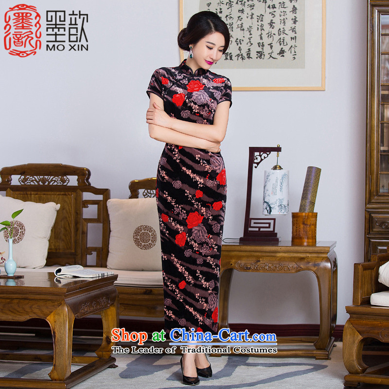 The thousands of fuser?2015 velour � cheongsam dress in the long long, older qipao mother load improved?picture color?M QD285 Cheongsam