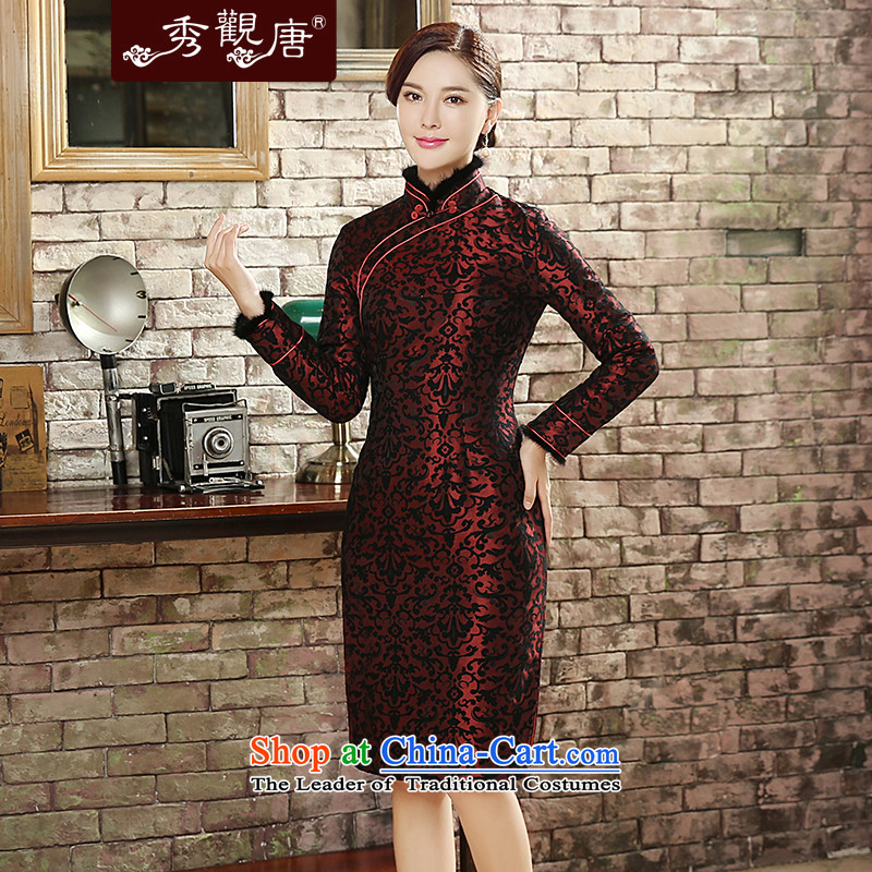 [Sau Kwun Tong] Sui Yue 2015 Fall/Winter Collections for the new gross long-sleeved retro stamp warm cheongsam dress QC5820 SUIT XXL