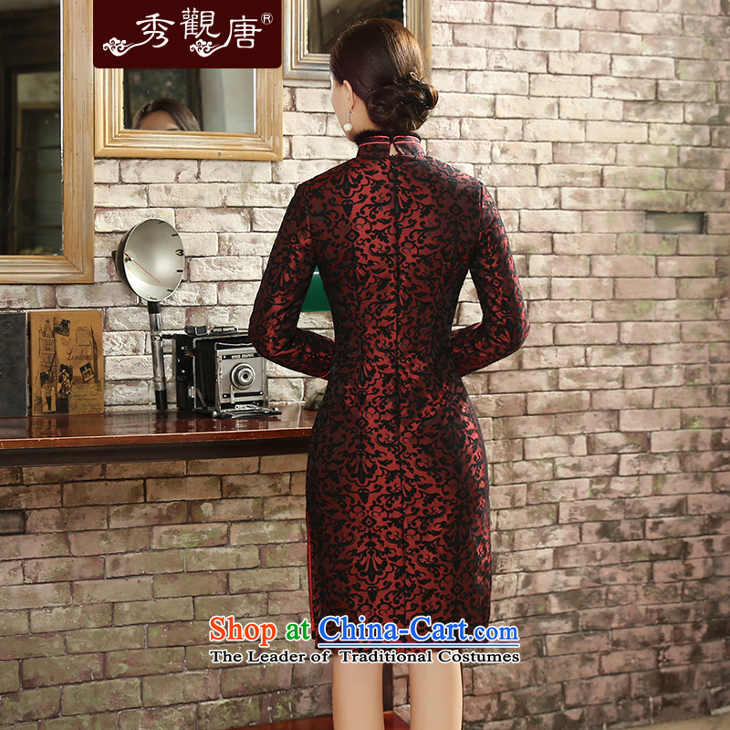 [Sau Kwun Tong] Sui Yue 2015 Fall/Winter Collections for the new gross long-sleeved retro stamp warm cheongsam dress suit XXL, QC5820 Soo-Kwun Tong shopping on the Internet has been pressed.