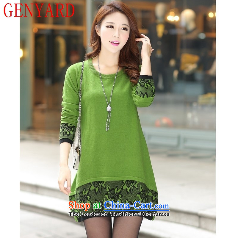In the number of older women's GENYARD autumn boxed long-sleeved knitwear fashion, elderly mother in long sleeved clothes green?XXL