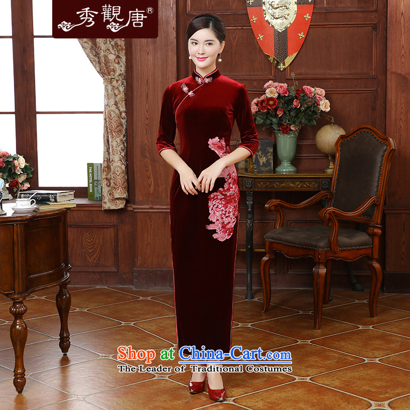 -Sau Kwun Tong- flowers fall 2015 a new seal, embroidery long Korean mother in the lint-free cuff cheongsam dress QC5909 wine red?L
