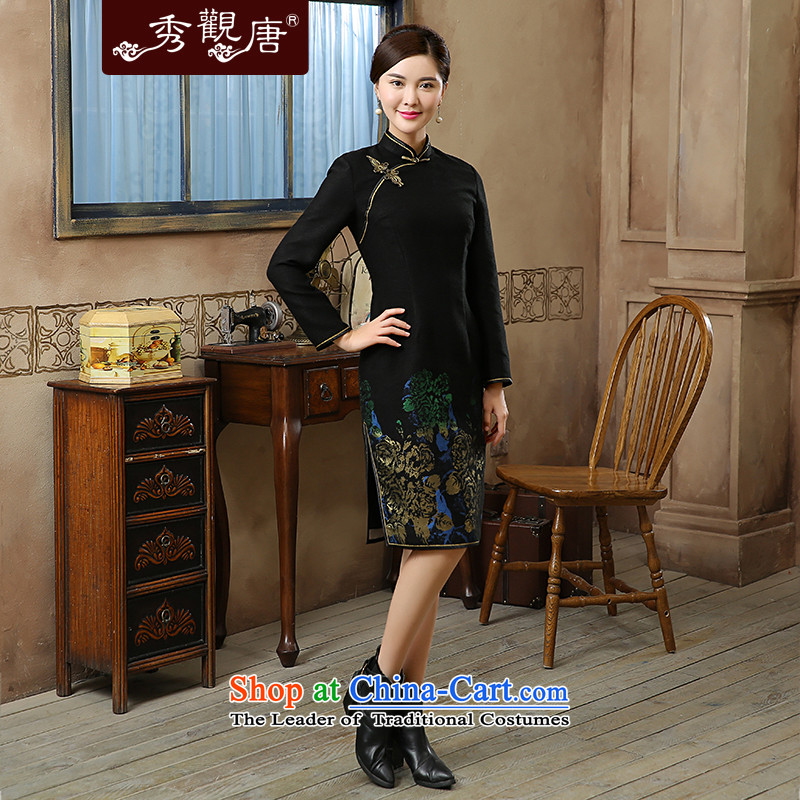 Aloe 2015 Fall_Winter Collections of new stamp long-sleeved retro improvements retro style qipao skirt Black燲L daily