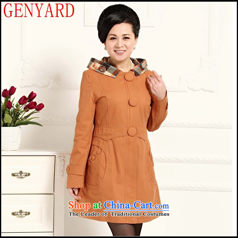 In the number of older women's GENYARD spring middle-aged female stylish mother with pure cotton hats overcoat Black?XL