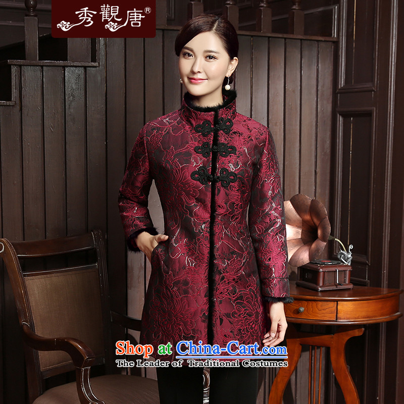 -Sau Kwun Tong Yan Cheung 2015- Fall_Winter Collections Of Chinese New improved temperament mother Tang Jacket coat TC5814 RED聽L