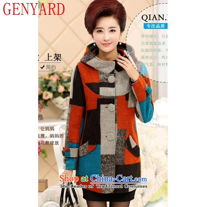 In the number of older women, GENYARD gross? Boxed autumn load mother coat large long-sleeved wool and latticed spring and autumn) Red?XXL