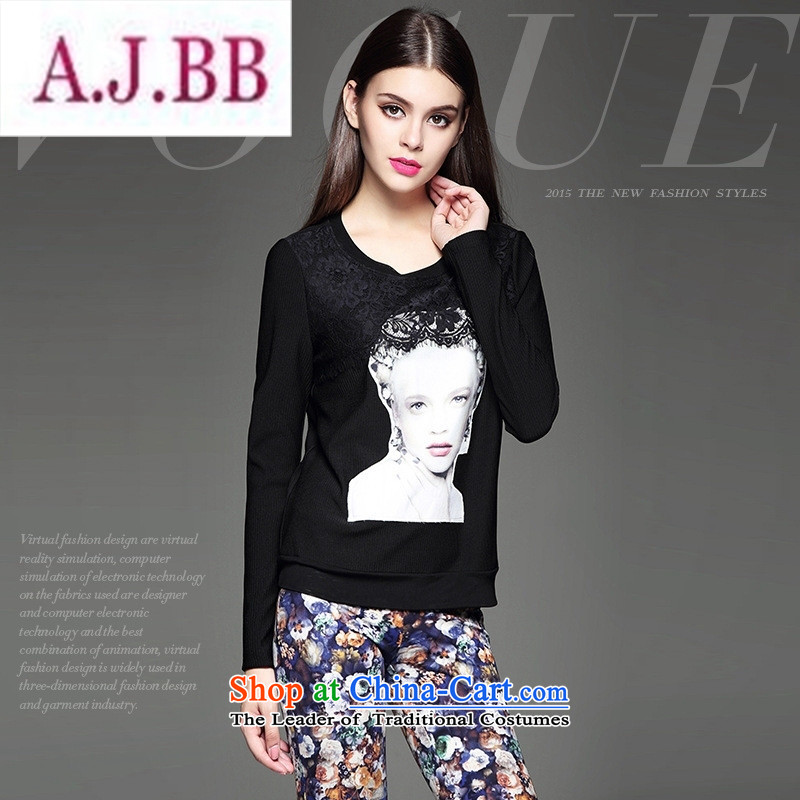 Ya-ting and fashion boutiques autumn load new women's personality silhouette lace flower stitching Sau San wild black T-shirt S