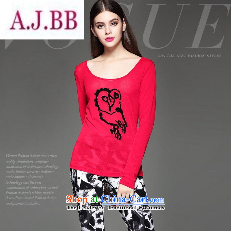 Ya-ting and fashion boutiques European site autumn and winter clothes market new products and stylish animal stamp Sau San video stereo thin blue shirt wild?XL