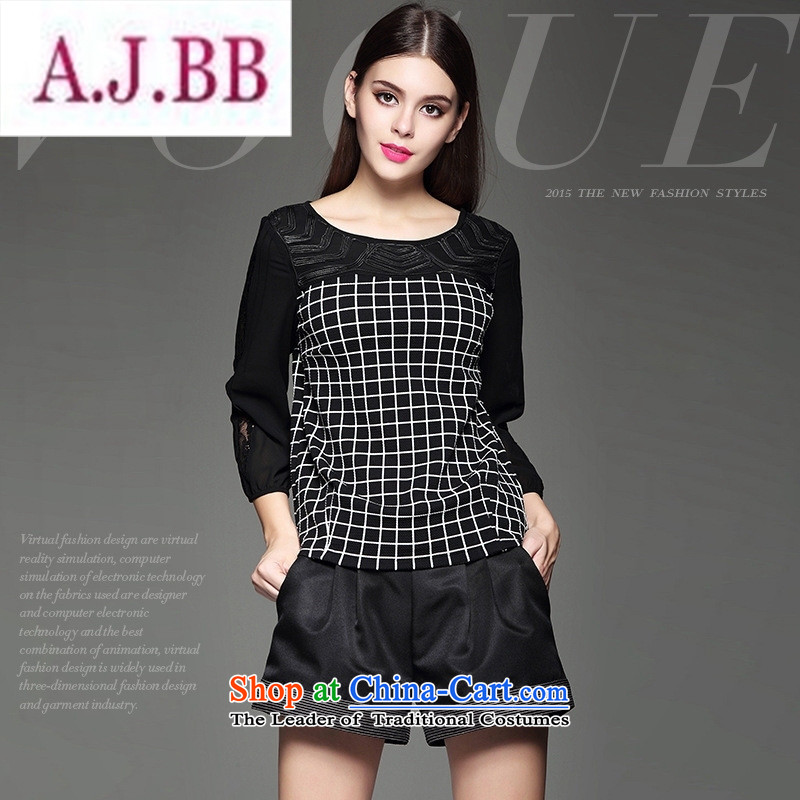 Ya-ting and fashion boutiques autumn load new women's personality lace stitching grid temperament shirt Black?XL