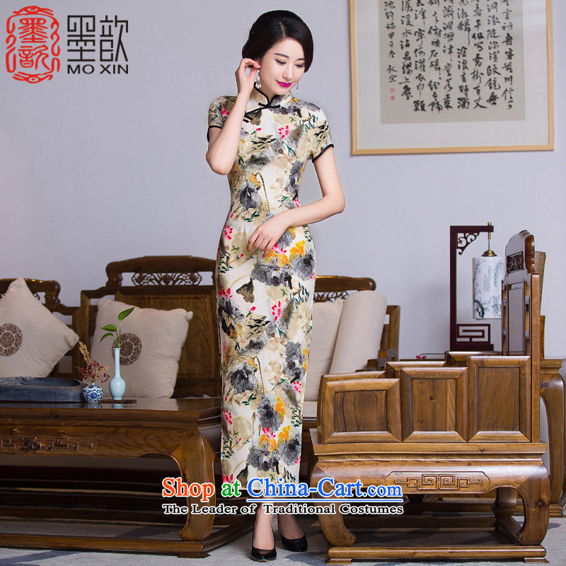 The Jacob Hill 2015 velour 歆 qipao autumn new_ Older cheongsam long, mother retro style qipao skirt QD288 landscape painting a picture color XXL