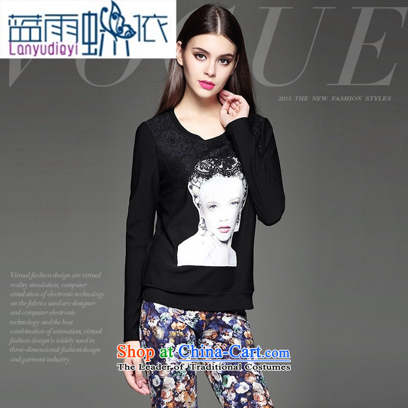 The fall in new women's personality silhouette lace flower stitching Sau San wild black T-shirt?L