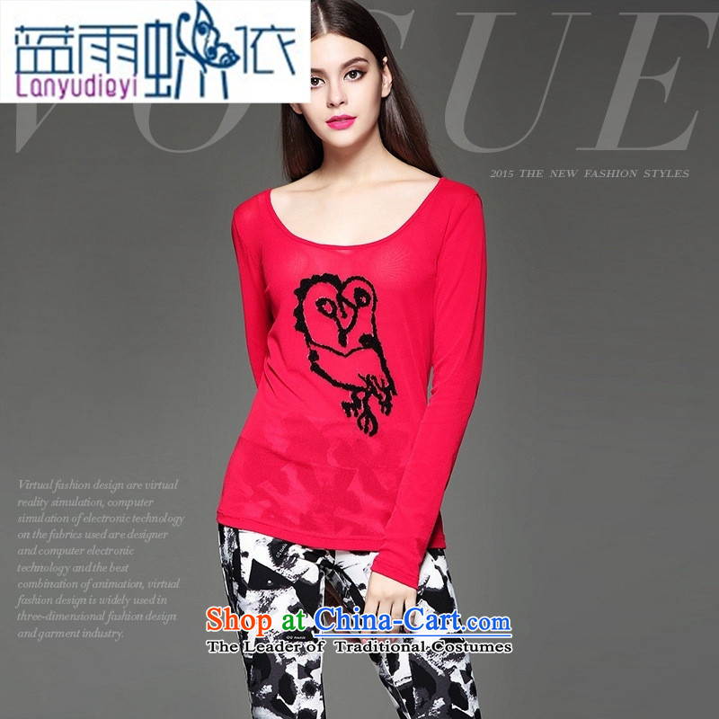 The European site autumn and winter clothes market new products and stylish animal stamp Sau San video stereo thin wild red T-shirt?S