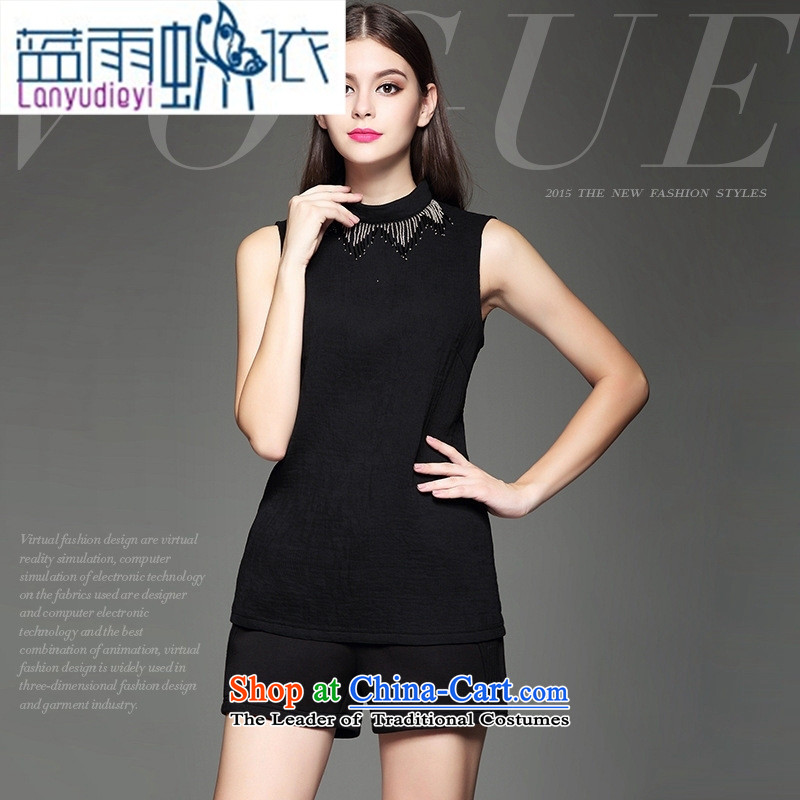 The European site autumn and winter clothes market new products Europe and minimalist decoration beaded Sau San video thin black sleeveless shirt?L