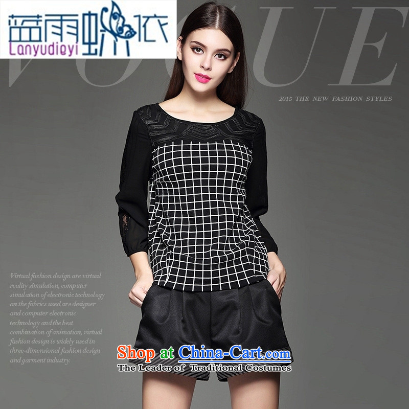 The fall in new women's personality lace stitching grid temperament shirt black?S