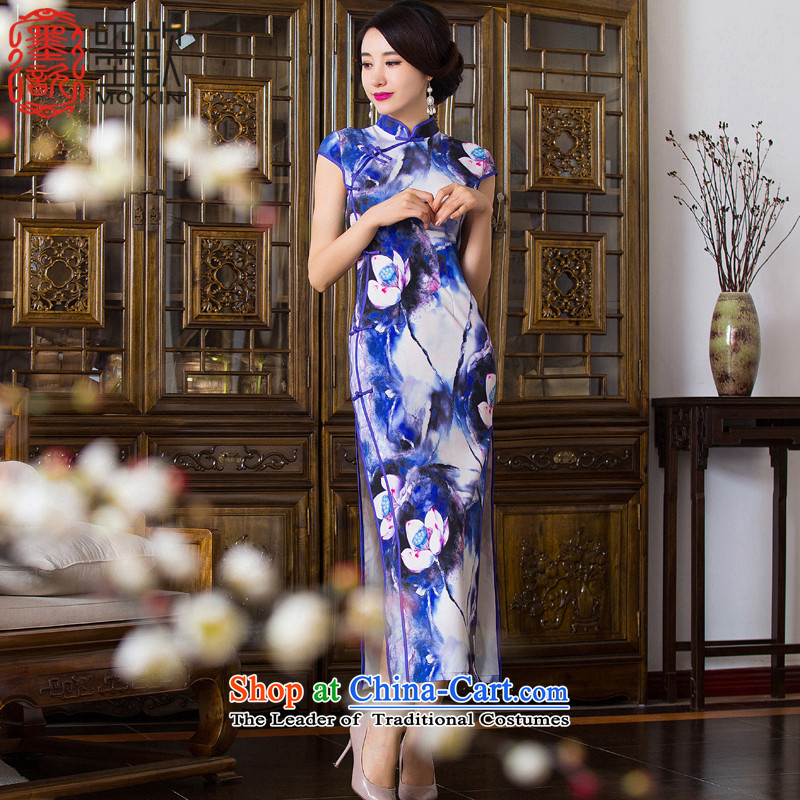 The estimated thousands of new 2015 歆_ in the autumn of Qipao Ms. long cheongsam dress dress long retro style qipao skirt QD289 double picture color L