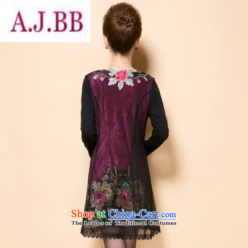 Ya-ting stylish shops in the autumn of 2015, the new mother with stylish and elegant of delicacy flower in older Sau San temperament dress code XXXL big red