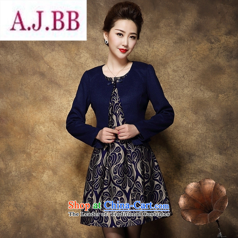 Ya-ting stylish shops 2015 large middle-aged female Mother New) Autumn two kits wool dresses? Tibetan blue?XL