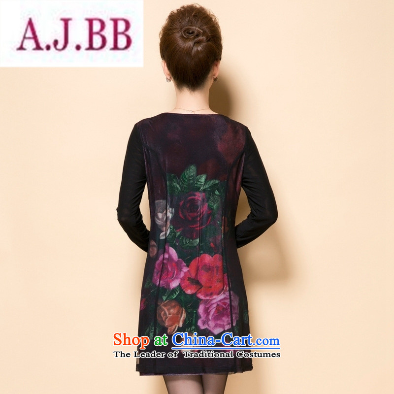 Ya-ting stylish shops in the autumn of 2015, the new and old age are stylish and elegant flowers of considerate mother load Sau San dresses large black L