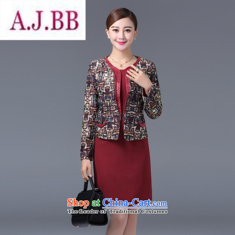 Ya-ting and fashion boutiques in 2015 older temperament Sau San lace jacquard larger women's mother with two-piece dresses flower Yi Red Dress聽XL