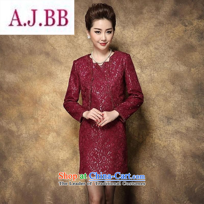 Ya-ting and fashion boutiques autumn 2015 new) Older dresses temperament Sau San larger wedding wedding MOM pack kit in the red?4XL185 104A
