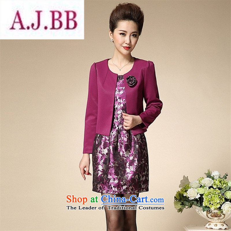 Ya-ting and fashion boutiques in 2015 Women's clothes mother older temperament is elegant and modern dresses two kits dress purple?175 96A