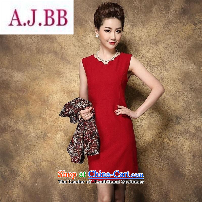 Ya-ting and fashion boutiques in autumn and winter 2015 older stylish wedding wedding MOM pack flower Yi Red Dress?4XL