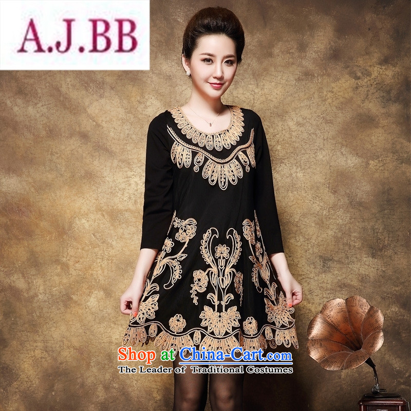 Ya-ting stylish shops in the autumn of 2015, the Code Cuba baroque pattern in the skirt of older larger mother replacing dresses large black XXL