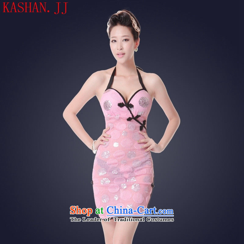 Mano-hwan's sexy female cheongsam dress short skirt nightclubs dress sauna service technician will serve the princess ktv pink S