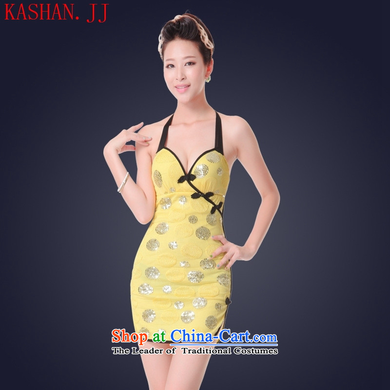 Mano-hwan's sexy female cheongsam dress short skirt night service technician will dress ktv princess services chest yellow?S