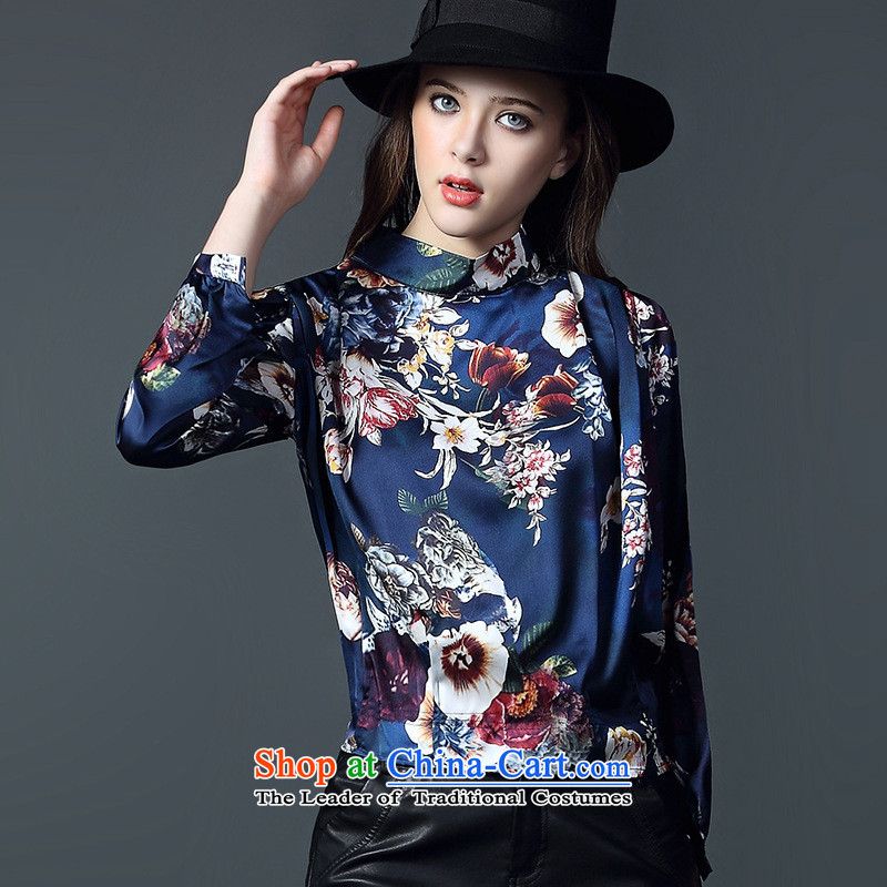 And related shop _2015 autumn and winter New Female European site western retro style leisure stamp shirt long-sleeved shirt Blue M
